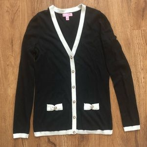 Lilly Pulitzer Black Cardigan Open Sweater Small S